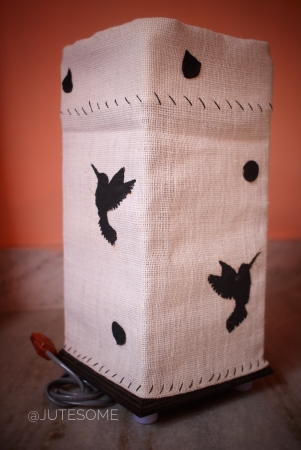 Jute Lamp with Bird Silhoutte Applique