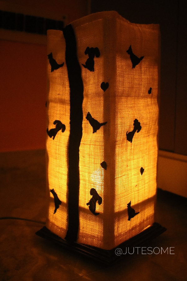Jute Lamp with Dogs Silhoutte Applique