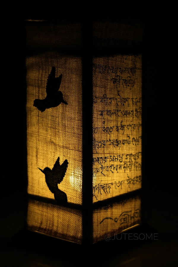 Jute Lamp with Bird Silhoutte Applique and Poetry with Acrylic color