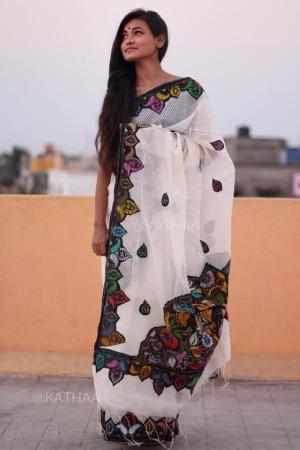 Handloom saree with Kantha Stitch work on Applique