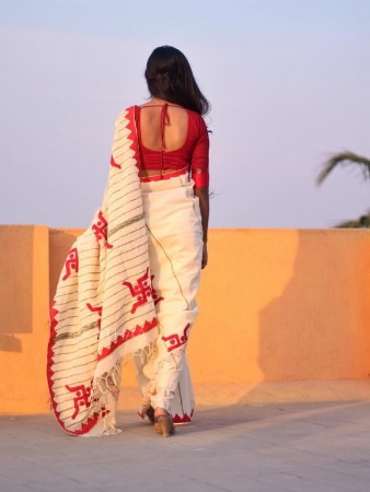 Khesh Saree with Applique work