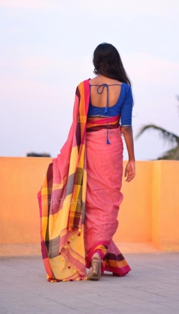 Khadi Pom Pom Mul Cotton Saree