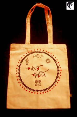 Pather Panchali Handpainted Side bag white