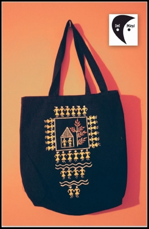 Warli Art Handpainted Side Bag black