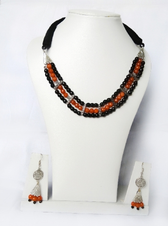 Brown and black stone necklace