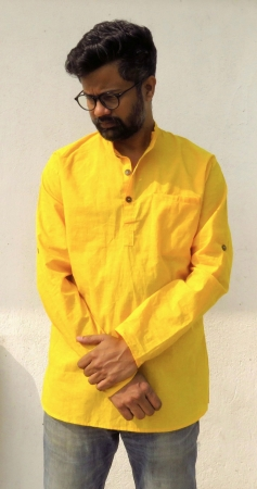DhiMayu Men's Khadi Short Kurta Yellow