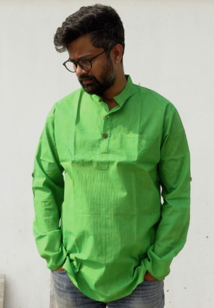 DhiMayu Men's pure cotton Short Kurta Green