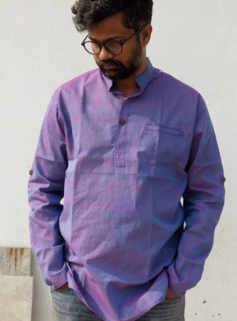 DhiMayu Men's Khadi Short Kurta Orchid Purple