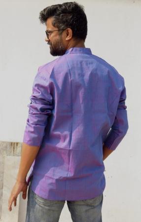DhiMayu Men's Khadi Short Kurta Orchid Purple