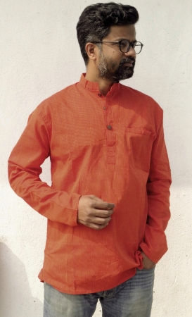 DhiMayu Men's Khadi Short Kurta Rust Red