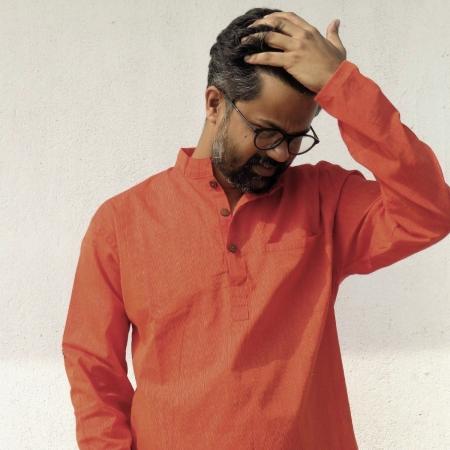 DhiMayu Men's Khadi Short Kurta Rust Red