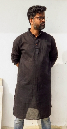 DhiMayu Men's Khadi Long Kurta Black