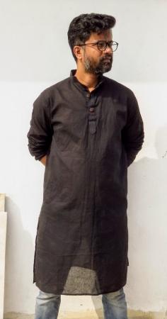 DhiMayu Men's Khadi Long Kurta Black