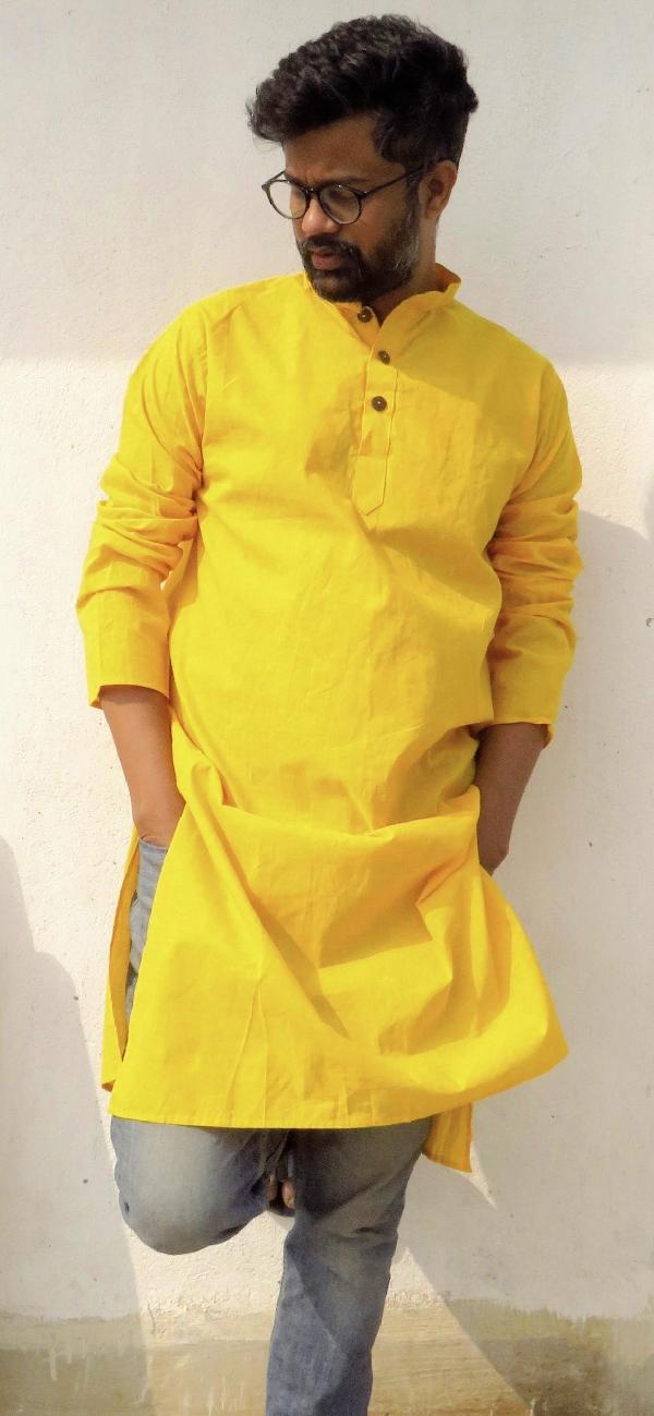 DhiMayu Men's Khadi Long Kurta Yellow