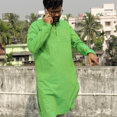 DhiMayu Men's Khadi Long Kurta Green