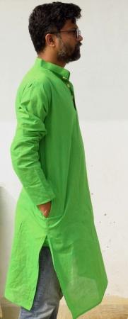 DhiMayu Men's Khadi Long Kurta Green