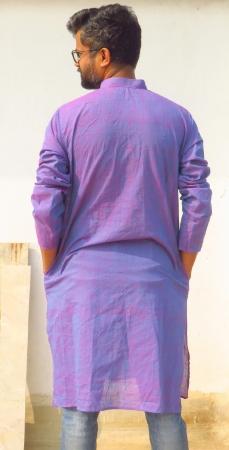 DhiMayu Men's Khadi Long Kurta Orchid Purple