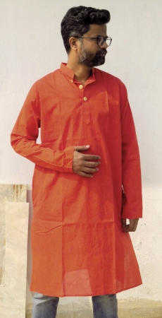 DhiMayu Men's pure cotton Long Kurta Rust Red