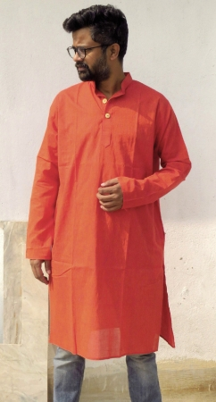 DhiMayu Men's Khadi Long Kurta Rust Red