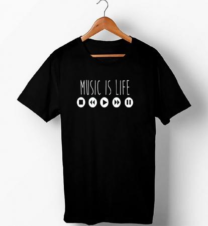 Music Is Life , Half Sleeve T-Shirt