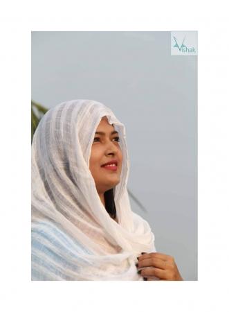 Dhakai jamdani White Scrarves (Orna)