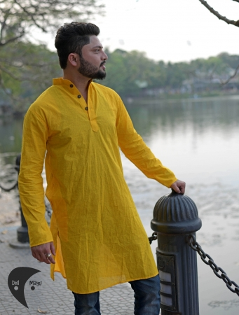 DhiMayu Men's Khadi Long Kurta Yellow