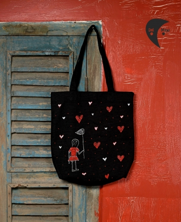 Heart Catcher Handpainted Side Bag
