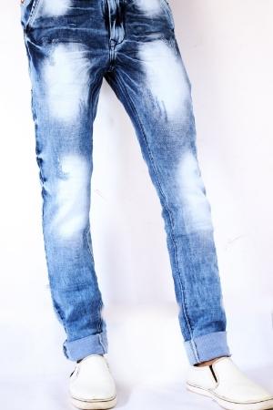 Denim Blue Patch Faded Lycra Sparky Jeans