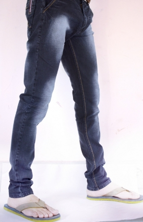 Navy Blue Denim Light Patch Faded Lycra Sparky Jeans