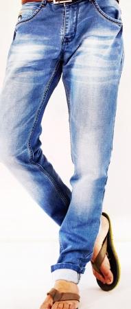 Denim Sky Blue Patch Faded Lycra Sparky Jeans