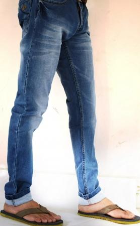 Denim Dark Blue Patch Faded Lycra Sparky Jeans