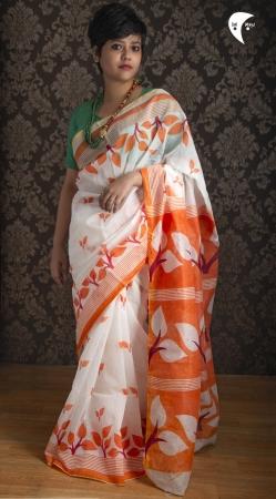 Orange Leaf handloom cotton saree