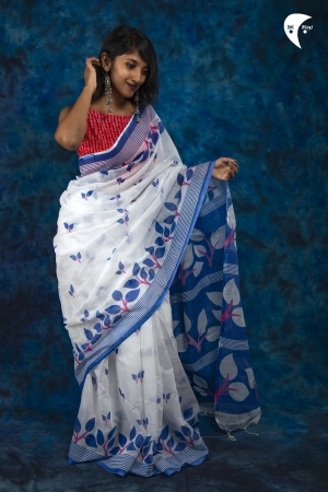 Blue leaf cotton saree