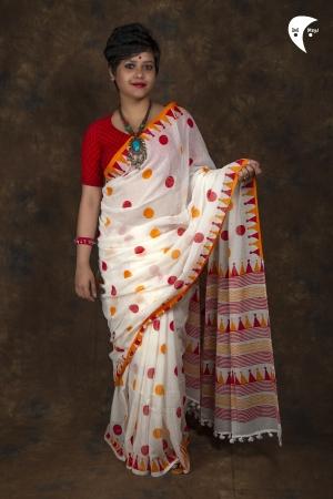 Polka with White design saree
