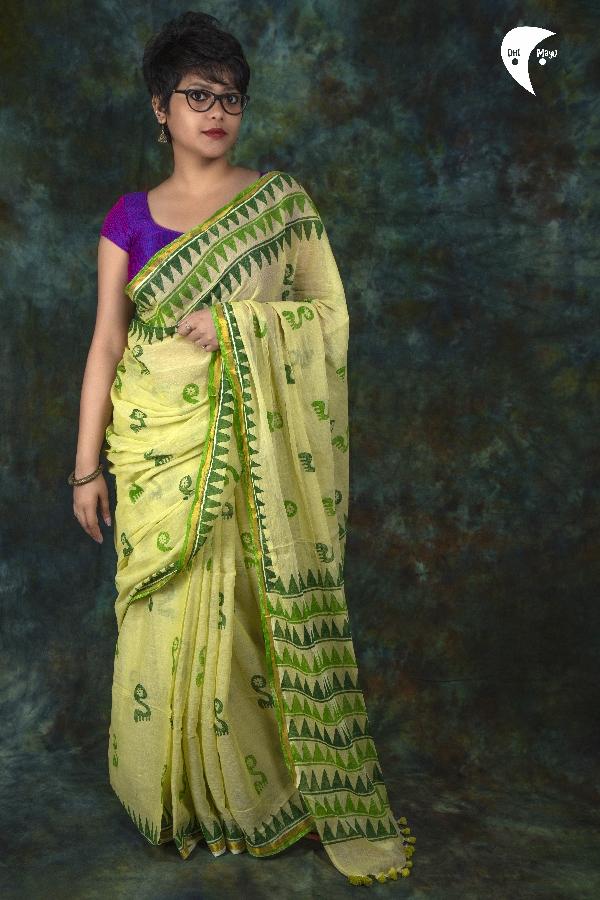 Ivy  maimal cotton fabric saree