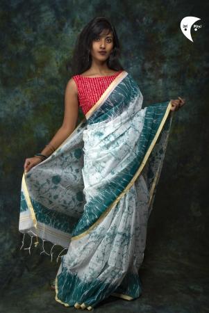 Sea and Sky printed handloom saree