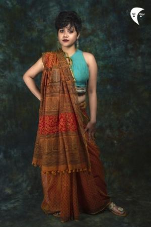 Rust printed maimal cotton saree