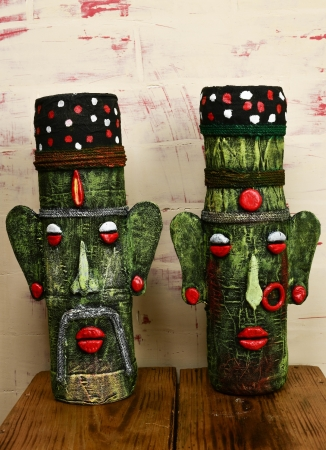 Tribal Couple Bottle Art