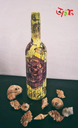 Decoupaged Bottle Art