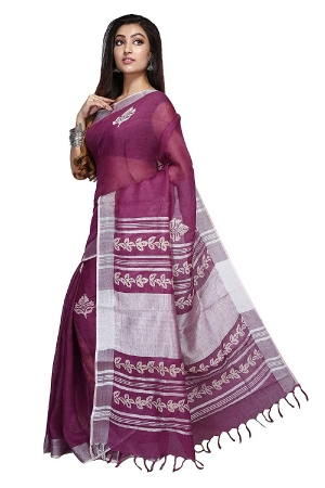 Swatika Ethnic Indian Bhagalpuri Block Printed Purple Colour Handloom Linen Saree/Sari with an unstitched Blouse Piece