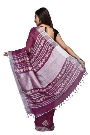 Swatika Ethnic Indian Bhagalpuri Block Printed Purple Colour Handloom Linen Saree/Sari with an unstitched Blouse Piece