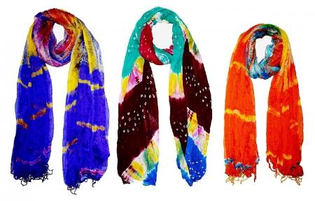 Jaipuri (Rajasthani) Handprinted Tie-Dyed Shibori Pattern Silk mix Chiffon Dupatta