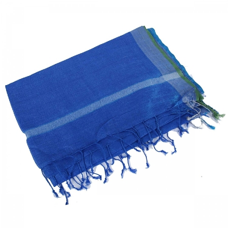 swatika Women's Bhagalpuri Ganga Jamuna Blue (Green - Blue Border) coloured Linen Plain Handloom Dupatta D9APML55