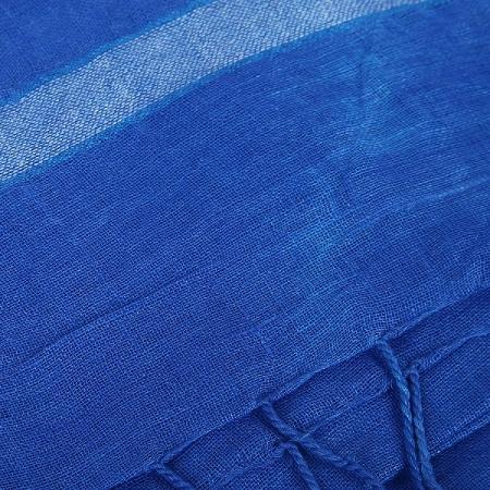 swatika Women's Bhagalpuri Ganga Jamuna Blue (Green - Blue Border) coloured Linen Plain Handloom Dupatta D9APML55