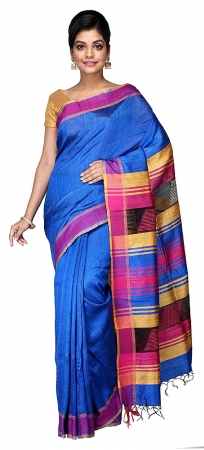 Swatika Ethnic Indian Bhagalpuri women's Handloom Blue Colour Pure Tusser Ghicha Dupion Silk Saree/Sari with an unstitched Blouse Piece