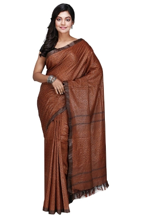Swatika Ethnic Indian Bhagalpuri Handloom All Over Black Thread Woven Design Brown Colored Cotton Silk Saree/Sari with an unstitched Blouse Piece Model No - S9OTRD107