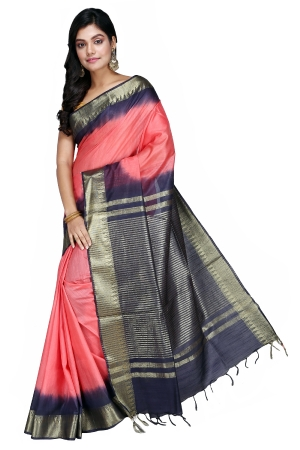 Swatika Ethnic Indian Bhagalpuri Handloom Zari Temple Peach-Blue Colored Mix Silk Saree/Sari with an unstitched Blouse Piece Model No - S9OTJJ048