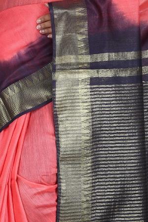Swatika Ethnic Indian Bhagalpuri Handloom Zari Temple Peach-Blue Colored Mix Silk Saree/Sari with an unstitched Blouse Piece Model No - S9OTJJ048