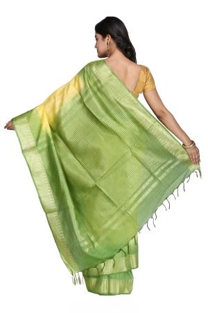 Swatika Ethnic Indian Bhagalpuri Handloom Zari Temple Yellow-Green Colored Mix Silk Saree/Sari with an unstitched Blouse Piece Model No - S9OTJJ042