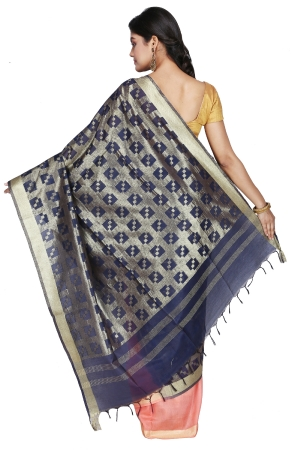 Swatika Ethnic Indian Bhagalpuri Handloom Half - Half Peach-Blue Colored Mix Silk Saree/Sari with an unstitched Blouse Piece Model No - S9OTJJ040